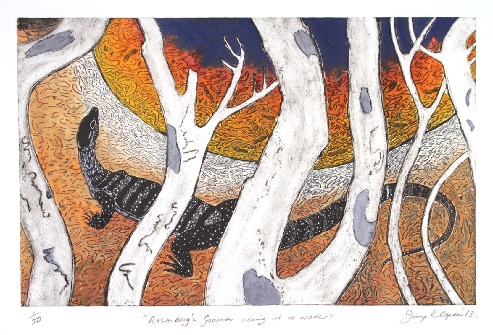 Solar plate etching by Kangaroo Island artist Jenny Clapson whose work is exhibited in the National Gallery of Australia - Rosenberg's Goanna coming into water.