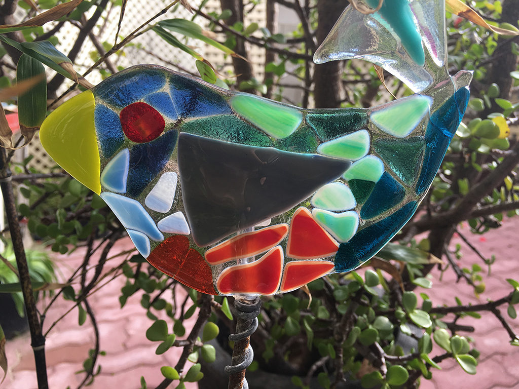 Keep an eye out for this glass mosaic garden bird in our Wabi Sabi garden gallery space