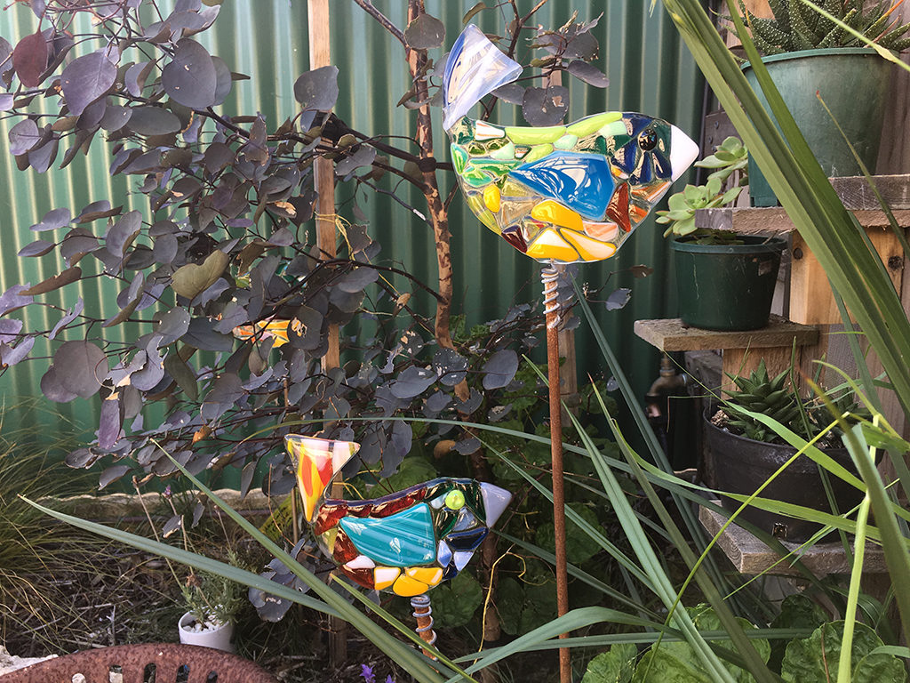 You'll find these cute mosaic glass birds hiding out in the Wabi Sabi sculpture garden at Kingscote's Fine Art Kangaroo Island gallery