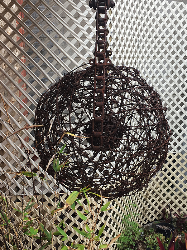 Hanging sculpture in barbed wire