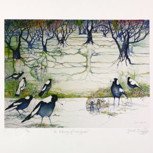 Limited edition fine art reproduction from A Tidings of Magpies by Janet Ayliffe