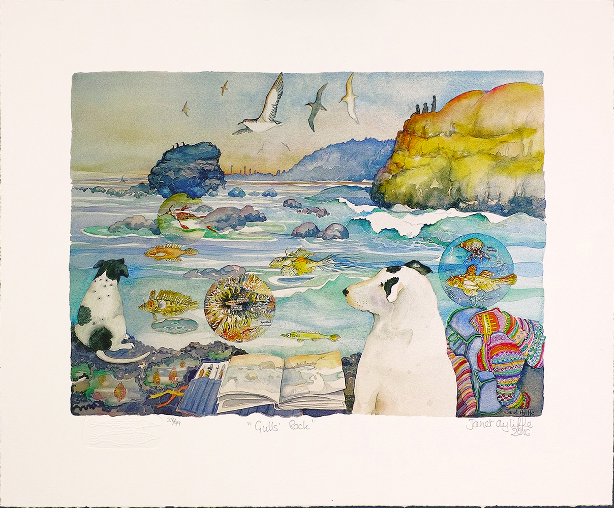 Gulls Rock reproduction printed in the artist's studio with hand embossed inclusion