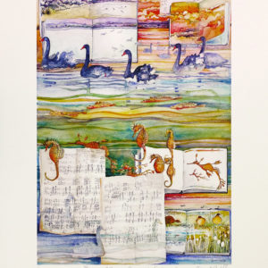 Swans, Schubert and Sea Dragons fine art print, reproduction from original watercolour by Janet Ayliffe