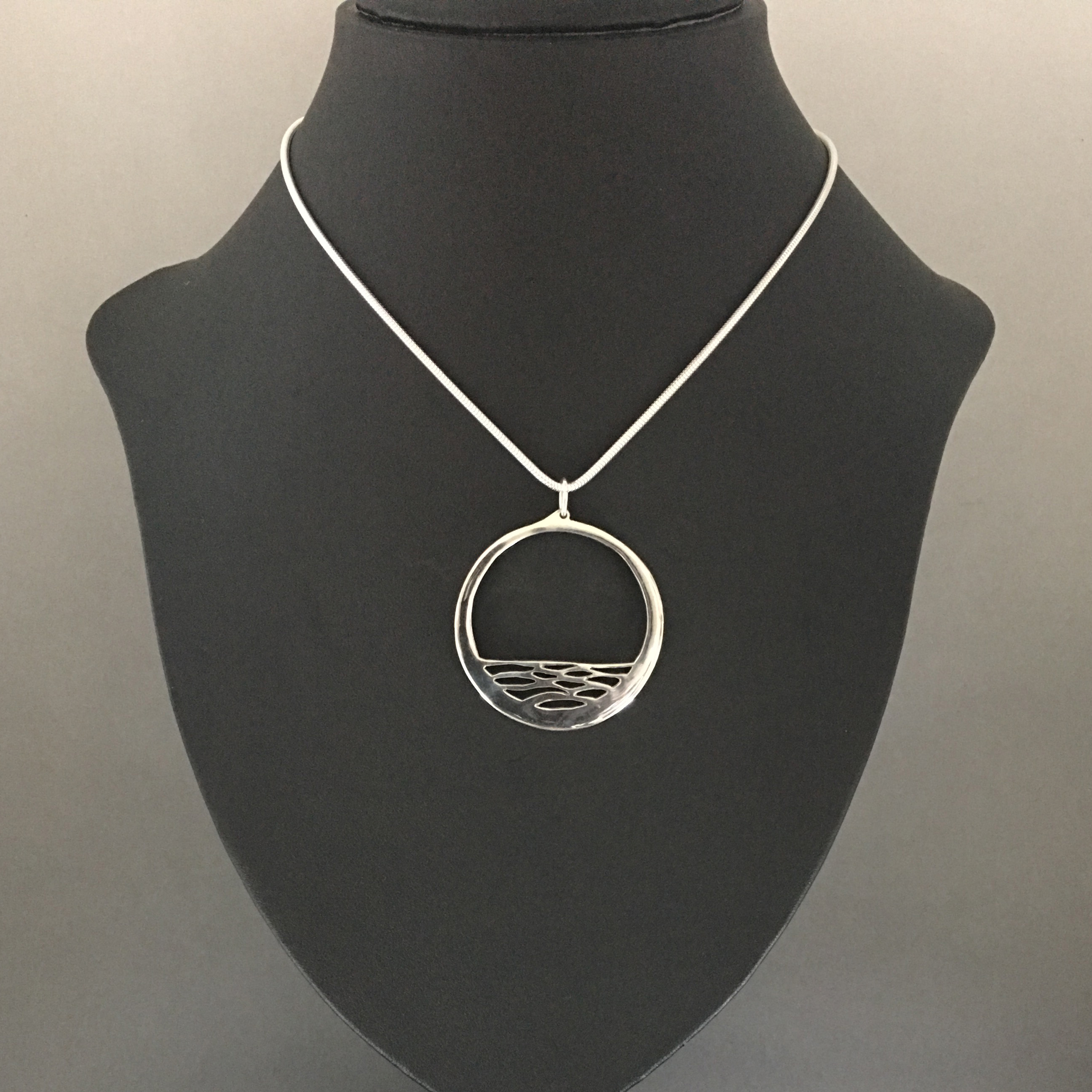 Calm sterling silver pendant by Kangaroo Island silversmith Fred Peters