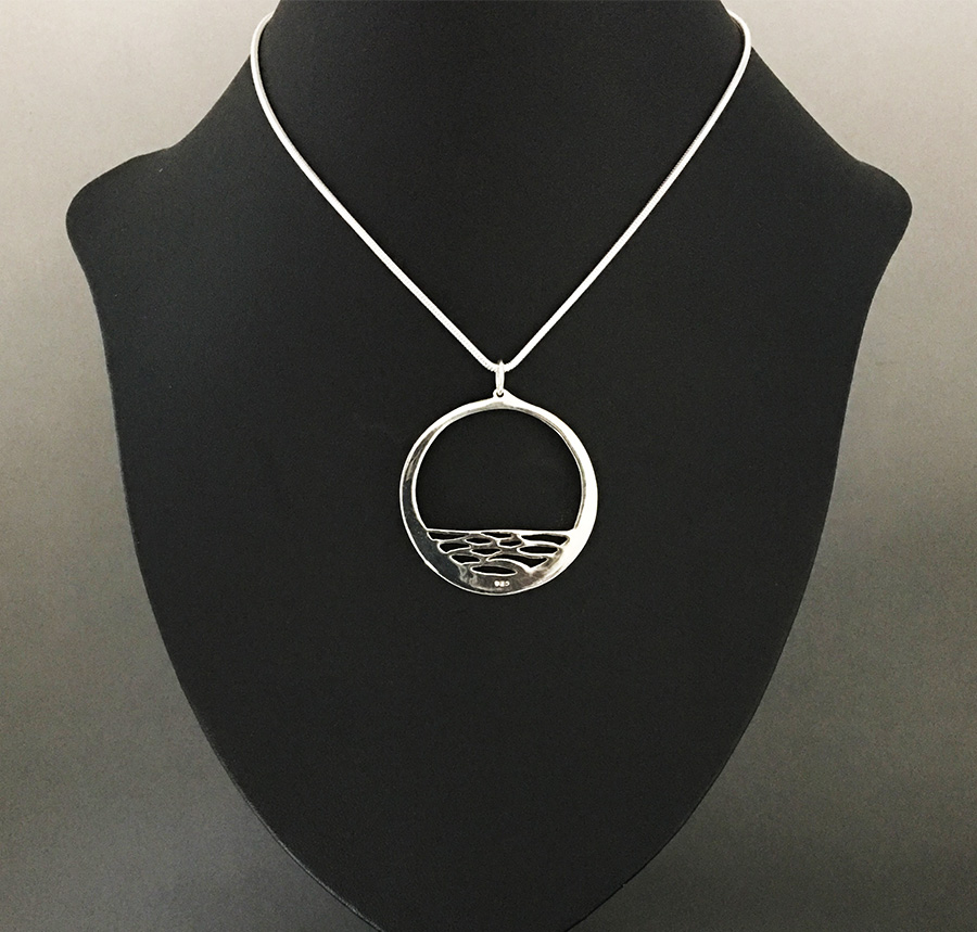 Calm sterling silver necklace by Fred Peters, reverse view
