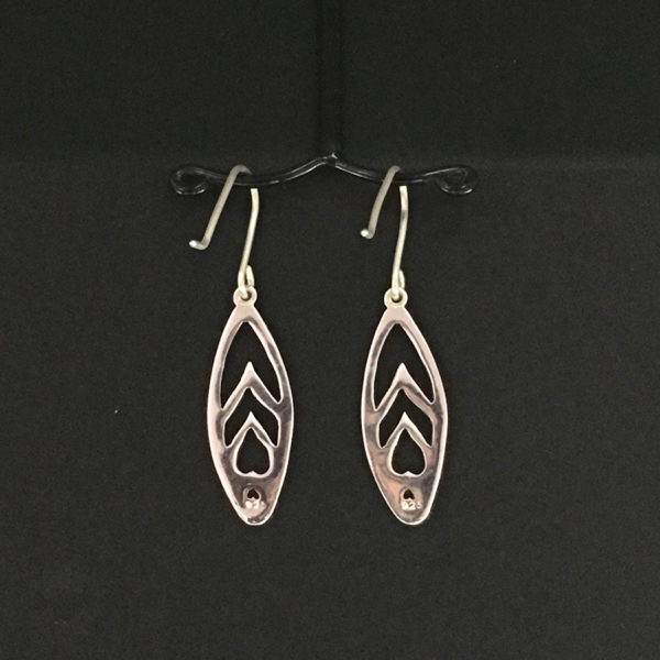 reverse view of pierced sterling silver Halophila Heart earrings