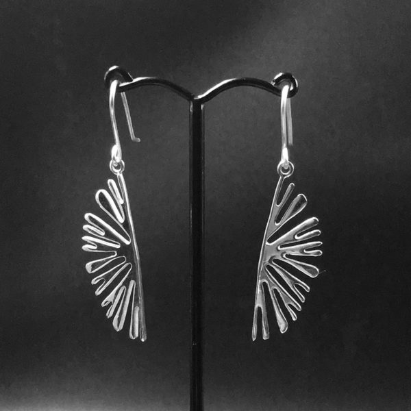 Lamellae Earrings by Fred Peters, pierced sterling silver