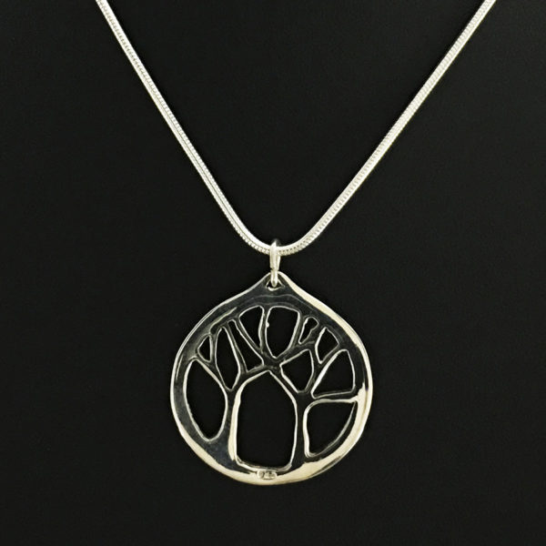 Reverse side of Safe Arbor II sterling silver pendant by Fred Peters