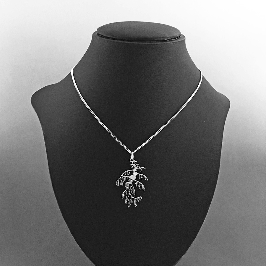 Small leafy seadragon pendant necklace by Fred Peters