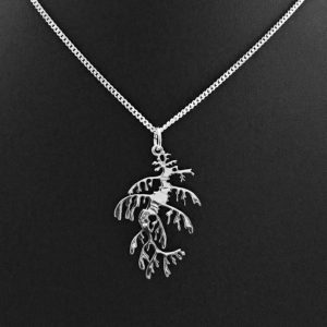 Pierced sterling silver pendant depicts the South Australian marine emblem, the leafy seadragon