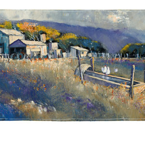 Chooks at the Trough, painting by Neil Sheppard, aka Shep. This special commemorative edition reproduction is another of Shep's iconic pastoral scenes