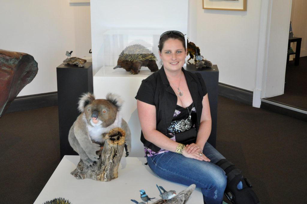 "Gabrielle Jones with major piece, ""Stuff It.. not taxidermy"" a fabricated sculpture of a life size koala."