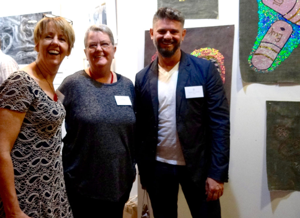 Easter Art Exhibition judges pictured with overall winner Cath Cantlon of Kangaroo Island