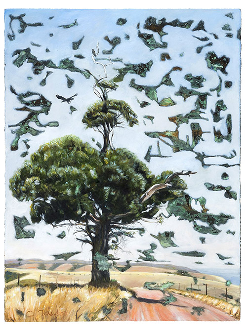 Eagle Perch by Caroline Taylor is currently on exhibit at the Kangaroo Island Airport Art Exhibition curated by Fine Art Kangaroo Island proprietor Fleur Peters
