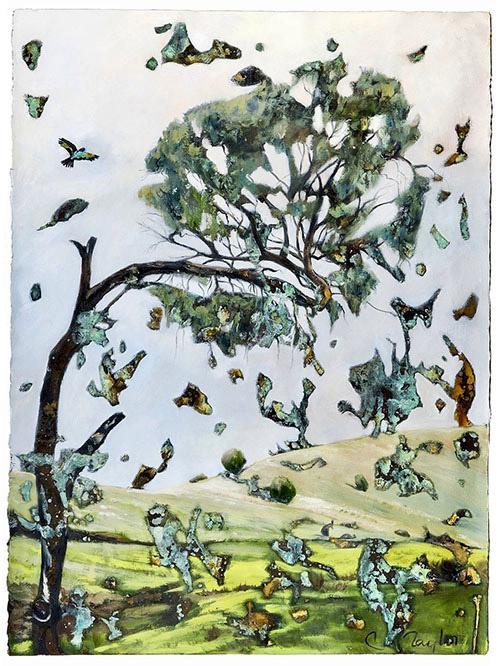 Broken Tree by Caroline Taylor - currently on exhibit at the Kangaroo Island Airport art exhibition