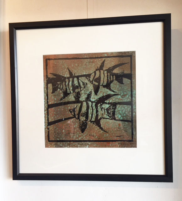 Enoplosus Cu, linocut print on patinated textured copper