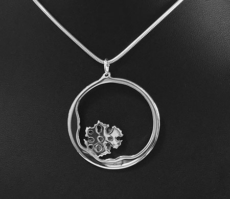 Sea Sponge - Life In The Rockpool, Pierced sterling silver pendant by Fred Peters