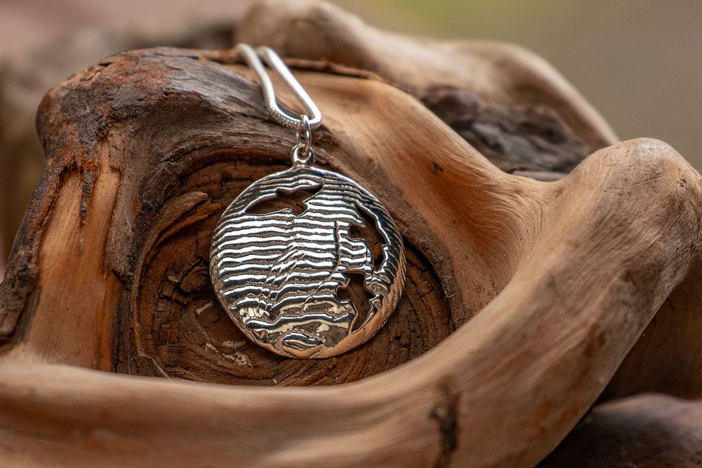 Tracks and Shadows - Sterling silver pendant by Silversmith Fred Peters