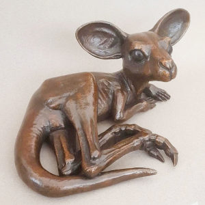 Baby roo - bronze sculpture by Dave Clarke