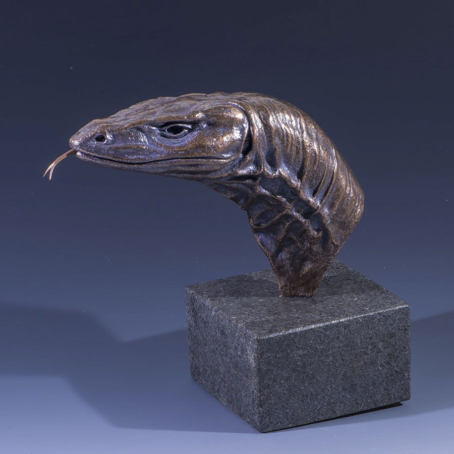 Goanna Head Sculpture - Bronze on Black Marble