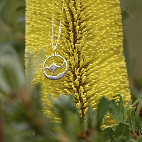 Kangaroo Pendant Necklace in sterling silver