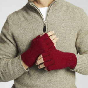 Red fingerless gloves by Kangaroo Island Wool.