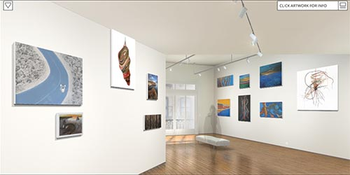 View from inside virtual exhibition space shows two walls with artworks hung. Polished wood floors and full-length windows at far end.